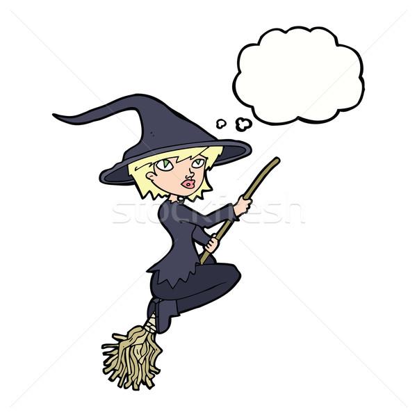 Desenho animado bruxa equitação cabo de vassoura balão de pensamento mão Foto stock © lineartestpilot