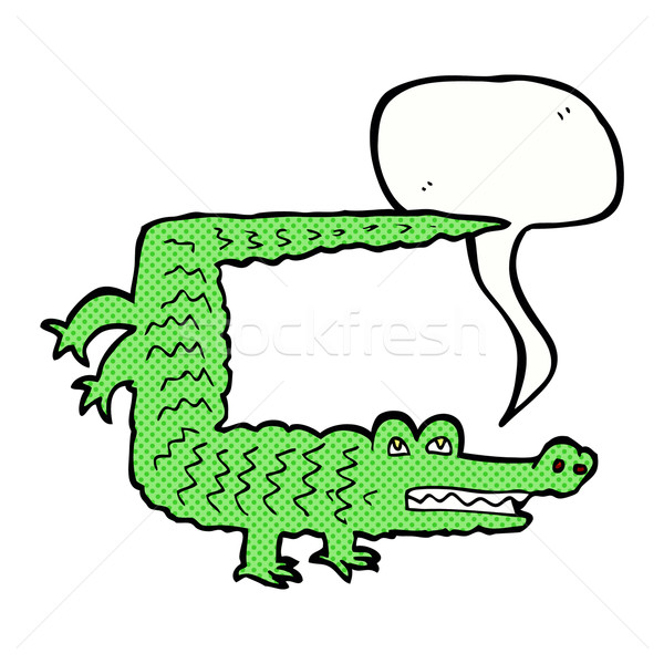 Rajz krokodil szövegbuborék kéz terv állatok Stock fotó © lineartestpilot