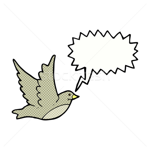 cartoon flying bird with speech bubble Stock photo © lineartestpilot