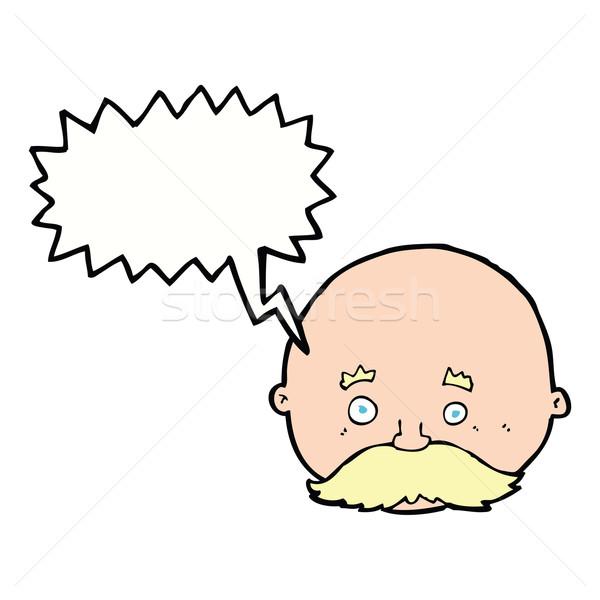 Cartoon chauve homme moustache bulle main Photo stock © lineartestpilot