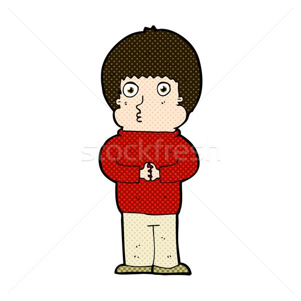 Komische cartoon verlegen jongen retro Stockfoto © lineartestpilot