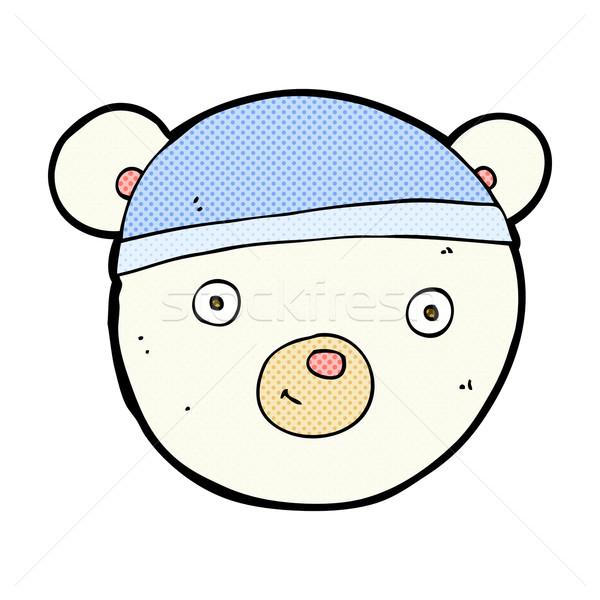 Fumetto cartoon orso polare faccia retro Foto d'archivio © lineartestpilot