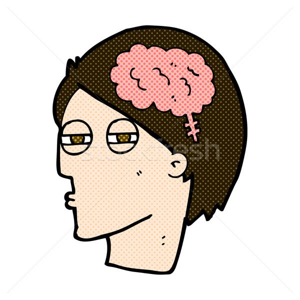 комического Cartoon человека мышления осторожно ретро Сток-фото © lineartestpilot