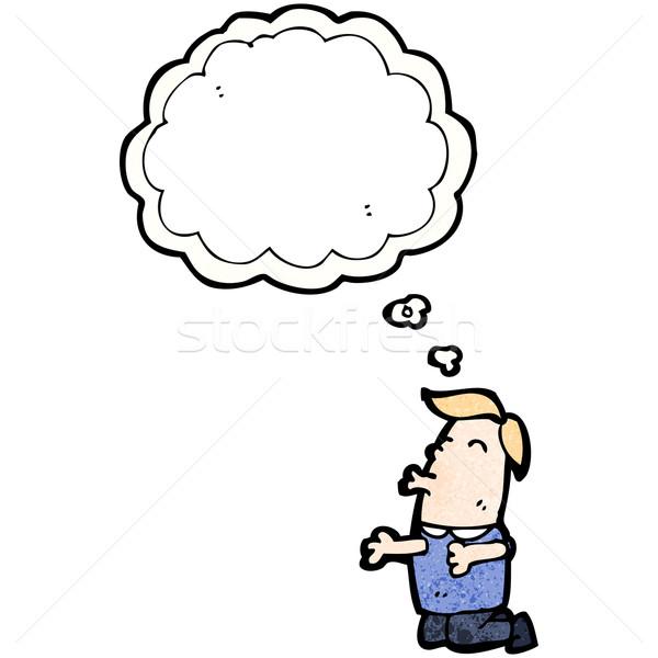 Karikatur Mann sprechen Retro Denken Zeichnung Stock foto © lineartestpilot