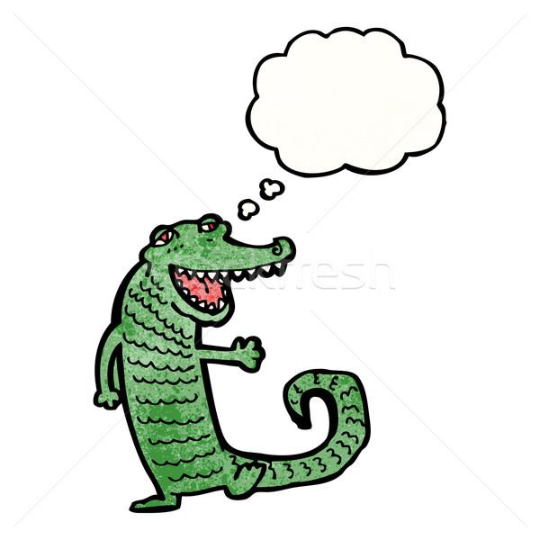 счастливым крокодила Cartoon говорить ретро мышления Сток-фото © lineartestpilot