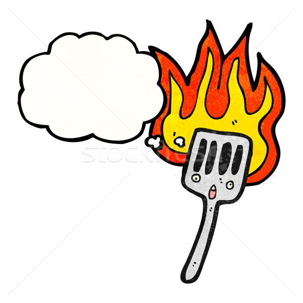 Cartoon fiammeggiante spatola retro pensare disegno Foto d'archivio © lineartestpilot