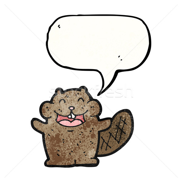 счастливым бобр Cartoon ретро рисунок Cute Сток-фото © lineartestpilot