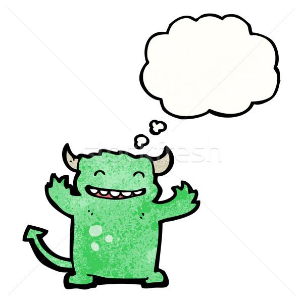 Cartoon diablo burbuja de pensamiento retro dibujo idea Foto stock © lineartestpilot