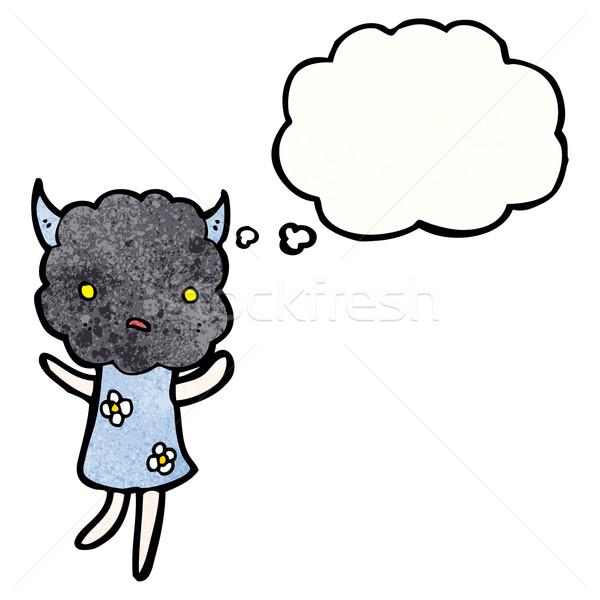 Cute nube cabeza criatura Cartoon retro Foto stock © lineartestpilot