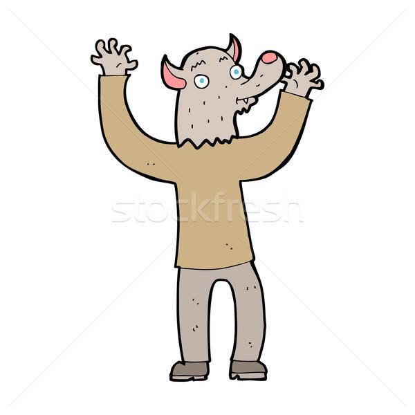 Karikatür mutlu kurt adam adam dizayn sanat Stok fotoğraf © lineartestpilot