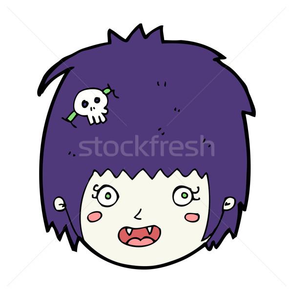 Karikatür mutlu vampir kız yüz kadın Stok fotoğraf © lineartestpilot
