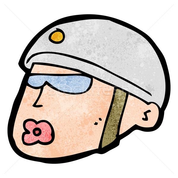 Cartoon policjant głowie projektu sztuki retro Zdjęcia stock © lineartestpilot