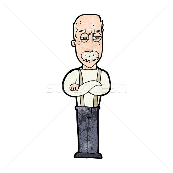 Cartoon agacé vieillard main homme design Photo stock © lineartestpilot
