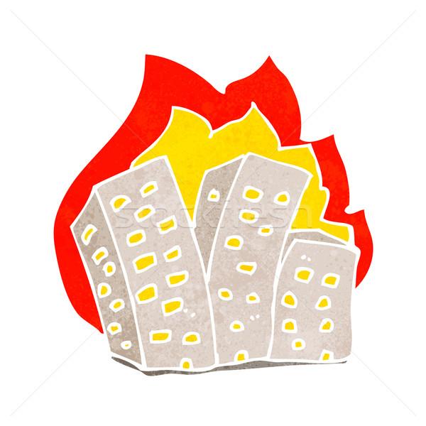 Cartoon brandend gebouwen hand brand ontwerp Stockfoto © lineartestpilot
