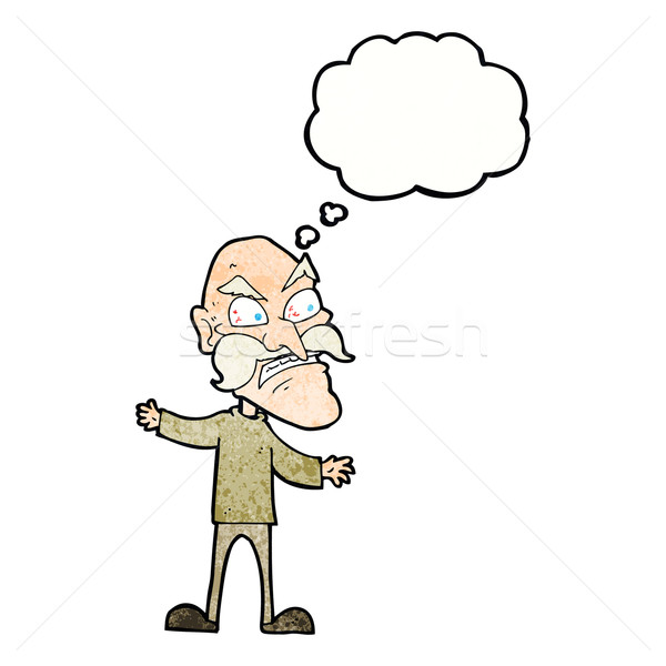 cartoon angry old man with thought bubble Stock photo © lineartestpilot