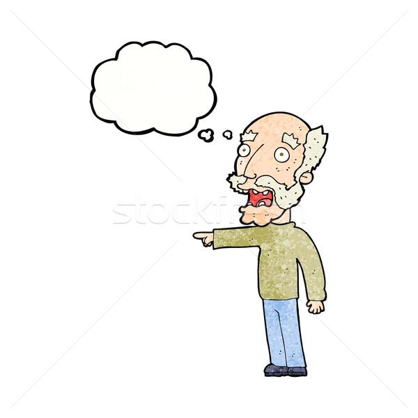 Cartoon страшно старик указывая мысли пузырь стороны Сток-фото © lineartestpilot