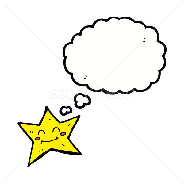 Desenho animado estrela balão de pensamento mão projeto Foto stock © lineartestpilot