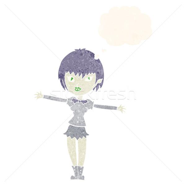 Cartoon vampiro nina burbuja de pensamiento mano diseno Foto stock © lineartestpilot