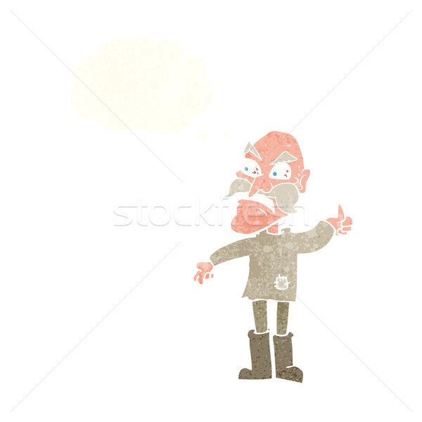 cartoon angry old man in patched clothing with thought bubble Stock photo © lineartestpilot