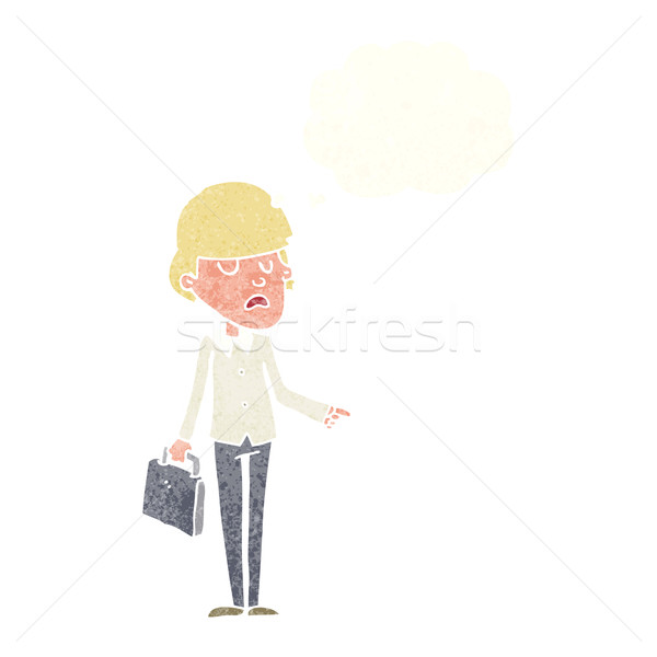 cartoon arrogant businessman pointing with thought bubble Stock photo © lineartestpilot