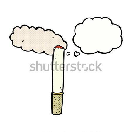 Karikatür sigara düşünce balonu el dizayn çılgın Stok fotoğraf © lineartestpilot