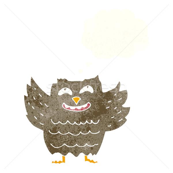Karikatür mutlu baykuş düşünce balonu el dizayn Stok fotoğraf © lineartestpilot
