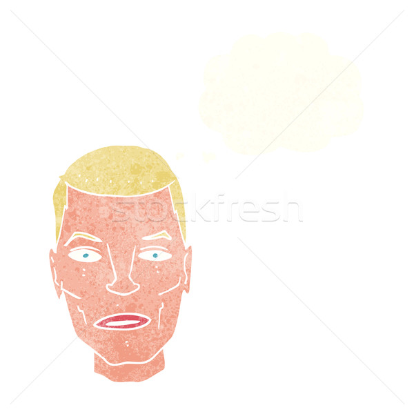 cartoon serious male face with thought bubble Stock photo © lineartestpilot