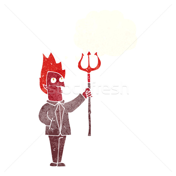 cartoon devil with pitchfork with thought bubble Stock photo © lineartestpilot