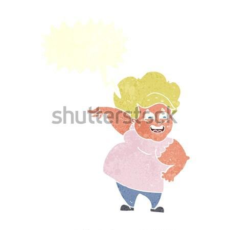 Cartoon divertente donna sexy bolla di pensiero donna mano Foto d'archivio © lineartestpilot