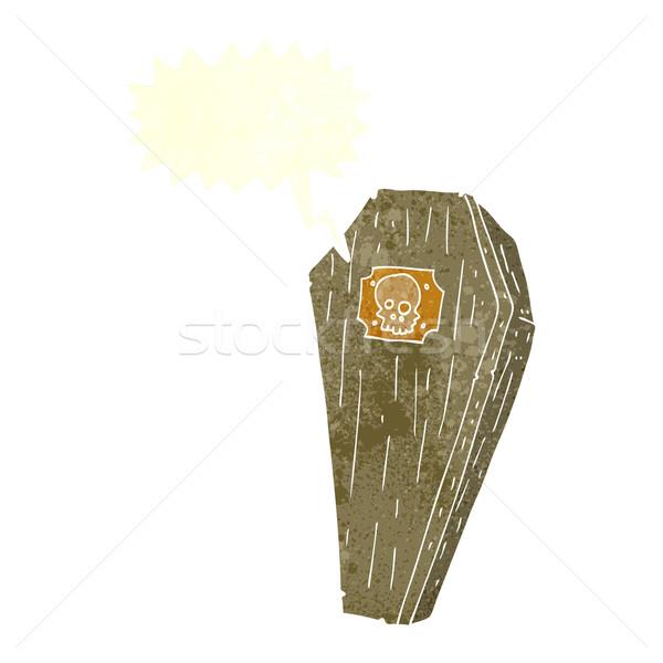 Karikatür tabut konuşma balonu el dizayn Stok fotoğraf © lineartestpilot