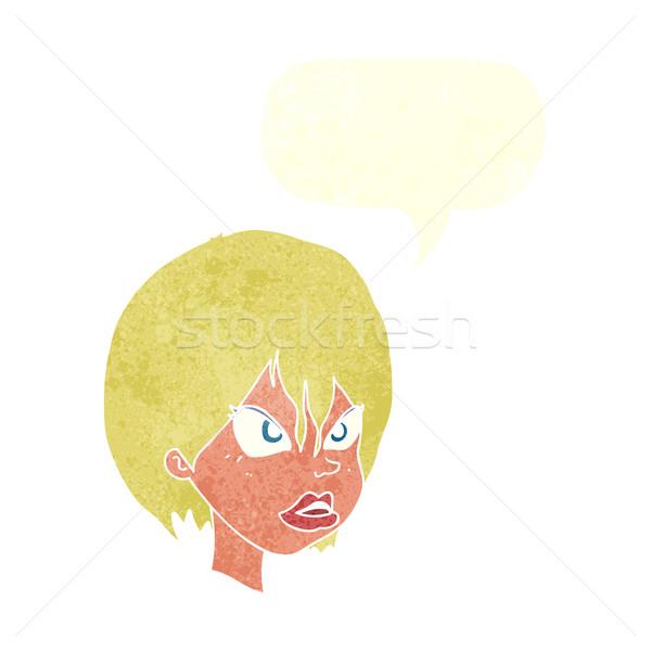 Rajz bosszús nő szövegbuborék kéz terv Stock fotó © lineartestpilot