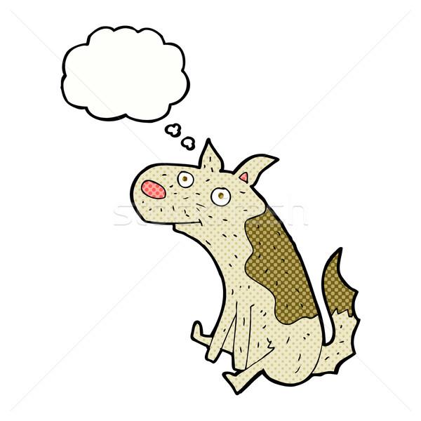 Desenho animado sessão cão balão de pensamento mão projeto Foto stock © lineartestpilot