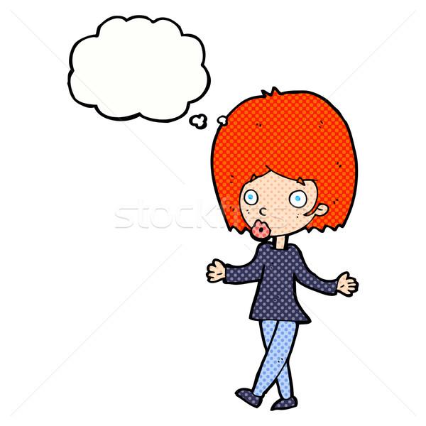 Cartoon confusi donna bolla di pensiero mano design Foto d'archivio © lineartestpilot