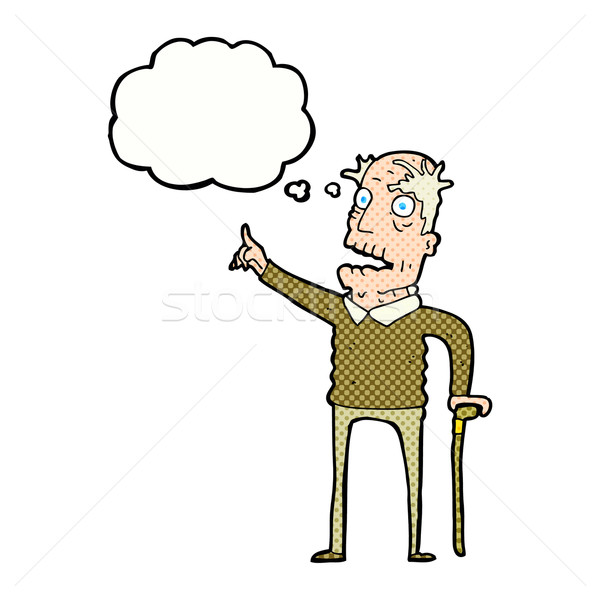 cartoon old man with walking stick with thought bubble Stock photo © lineartestpilot