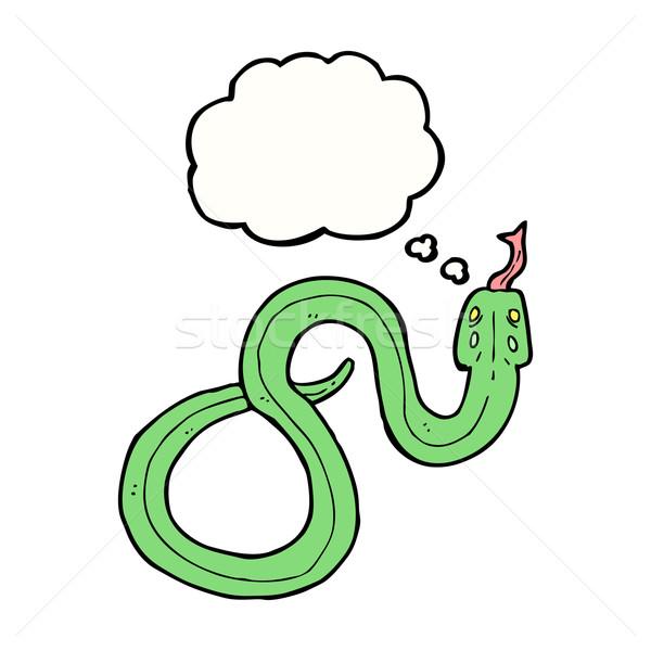 Karikatür yılan düşünce balonu el dizayn sanat Stok fotoğraf © lineartestpilot