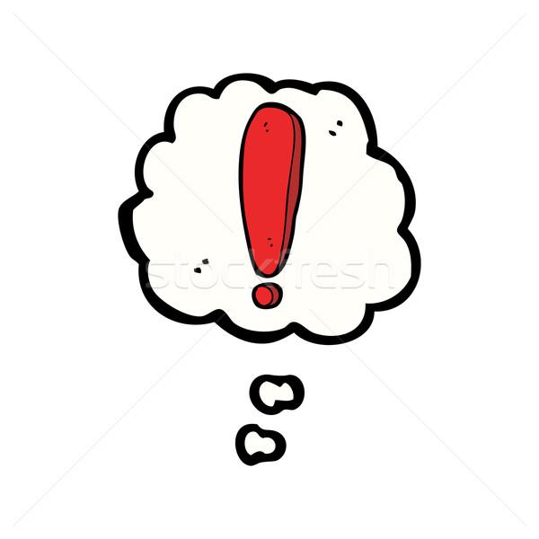 Cartoon signo de admiración burbuja de pensamiento mano diseno arte Foto stock © lineartestpilot
