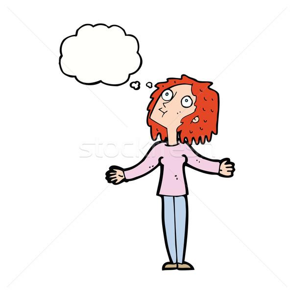 Cartoon curioso mujer mirando burbuja de pensamiento mano Foto stock © lineartestpilot