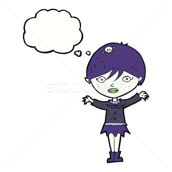 漫画 吸血鬼 少女 思考バブル 手 ストックフォト © lineartestpilot