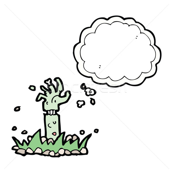 Cartoon зомби руки мысли пузырь стороны дизайна Сток-фото © lineartestpilot