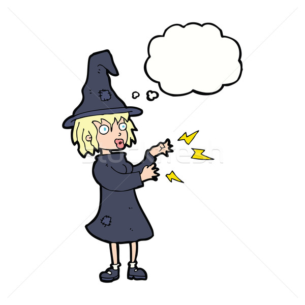 cartoon witch casting spell with thought bubble Stock photo © lineartestpilot