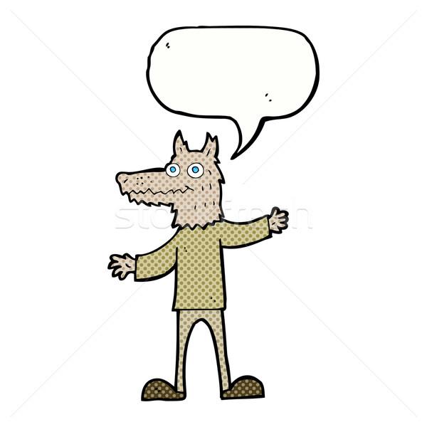 Rajz farkas férfi szövegbuborék kéz terv Stock fotó © lineartestpilot