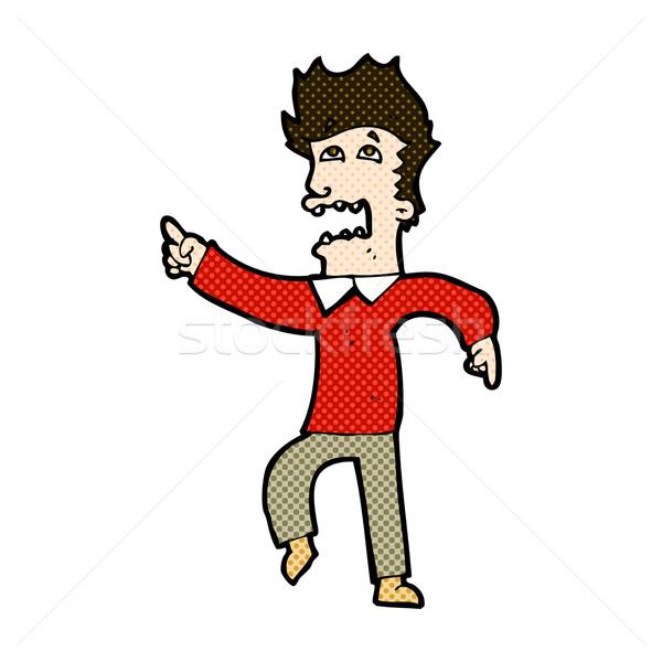 комического Cartoon испуганный человека указывая ретро Сток-фото © lineartestpilot