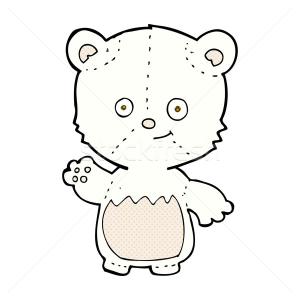 Képregény rajz kicsi jegesmedve integet retro Stock fotó © lineartestpilot