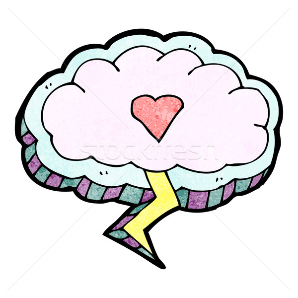 cartoon thunder cloud with love heart Stock photo © lineartestpilot