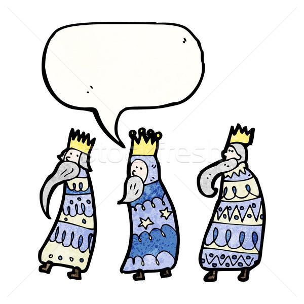 Rajz három királyok beszél retro karácsony rajz Stock fotó © lineartestpilot