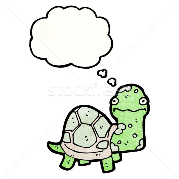 Cartoon черепаха ретро мышления рисунок Идея Сток-фото © lineartestpilot