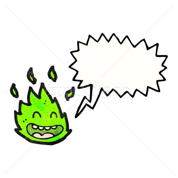Cartoon verde fuego criatura bocadillo arte Foto stock © lineartestpilot