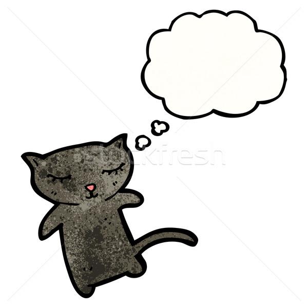 Stock fotó: Rajz · fekete · macska · fekete · retro · léggömb · rajz