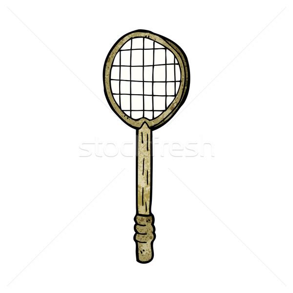 Karikatür eski tenis raketi el dizayn tenis Stok fotoğraf © lineartestpilot