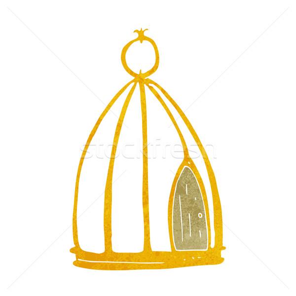 Desenho animado gaiola projeto arte pássaro retro Foto stock © lineartestpilot